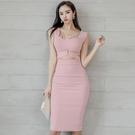 OL洋裝 2020新款夏職場輕熟風女裝ol氣質方領修身開叉背心性感包臀連身裙