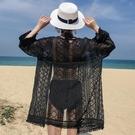防曬服 黑色蕾絲雪紡衫流蘇開衫外搭度假民族風波西米亞沙灘防曬衣女夏裝