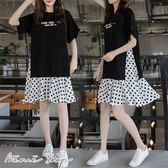 孕婦裝 MIMI別走【P52808】波波小旅行 雪紡拼接連身裙 洋裝