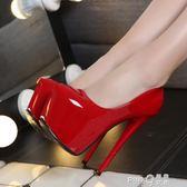 超高跟16cm淺口單鞋防水台夜店性感細跟圓頭女鞋恨天高高跟鞋15cm  【PINK Q】
