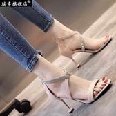 現貨涼鞋 羅馬涼鞋女交叉綁帶2020夏季新款歐美性感黑色絨面細跟高跟鞋夜店 歐歐6-20
