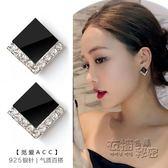 新款S925純銀黑色耳釘女夏季韓國氣質耳環個性百搭簡約短髪潮   衣櫥の秘密