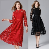 中大尺碼洋裝 蕾絲拼接A字顯瘦九分袖長版連衣裙 2色 L-5XL #yz14234 ❤卡樂❤