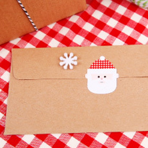 【BlueCat】聖誕節紅白綠雪人樹老人靴子貼紙 封口貼 (16枚入)