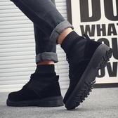 襪靴 馬丁靴男英倫風秋冬季高筒工裝靴潮流百搭全黑色休閒襪子口男靴子 果寶時尚