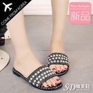 韓國空運 珍珠碎鑽造型 舒適柔軟鞋墊 雅典氣質平底涼拖鞋【F713278】版型正常/SD韓美鞋