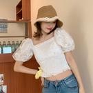 夏季2020新款性感一字肩領小雛菊網紗短袖露臍襯衫泡泡袖上衣女裝 韓國時尚週