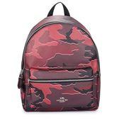 COACH 馬車LOGO 迷彩圖案前口袋後背包(紫紅色)195361-2