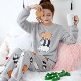 睡衣 珊瑚絨睡衣女秋冬季加厚保暖法蘭絨可外穿甜美可愛韓版家居服套裝【小天使】