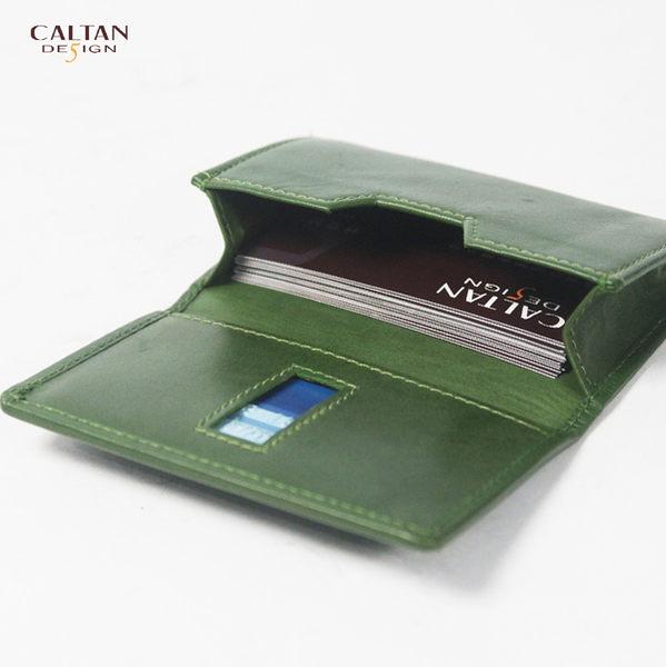 牛皮/名片夾【CALTAN】簡約橫式名片卡片夾-1801cd-綠