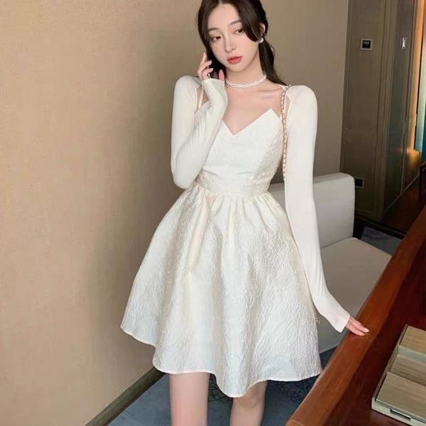 長袖洋裝 禮服 連身裙名媛風小眾外穿ins氣質小心機高腰顯瘦氣質吊帶連身裙NE68-A1 胖妞