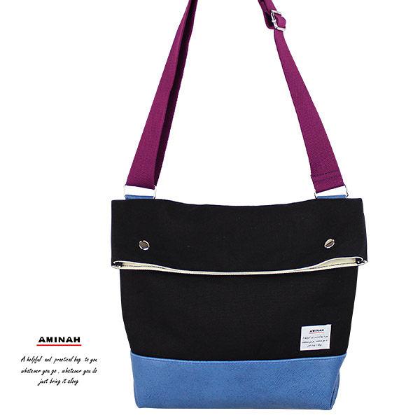 黑色帆布側背包   AMINAH~【am-0272】