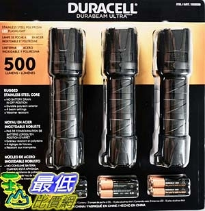 [9美國直購] 手電筒 Duracell Durabeam Ultra LED Flashlight 500 Lumens, 3 Count
