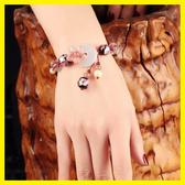 民族風手?復古粉色草莓晶手串招桃花平安扣琉璃貝殼裝飾品手飾女 居享優品
