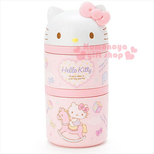〔小禮堂〕Hello Kitty 迷你造型雙層便當盒《圓筒型.粉.大臉.木馬.玩具》4901610-51720