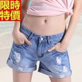 牛仔短褲-寬鬆破洞捲邊休閒丹寧女休閒褲69h24【巴黎精品】