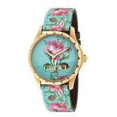GUCCI G-Timeless花團錦簇金色牛皮時尚腕錶/1264085