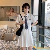 學院風白色連身裙女新款初戀系超仙女小個子百褶裙子【勇敢者】