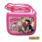 【日本進口正版】史努比 Snoopy 粉紅款 掛繩 小錢包 小皮夾 零錢包 PEANUTS - 293398