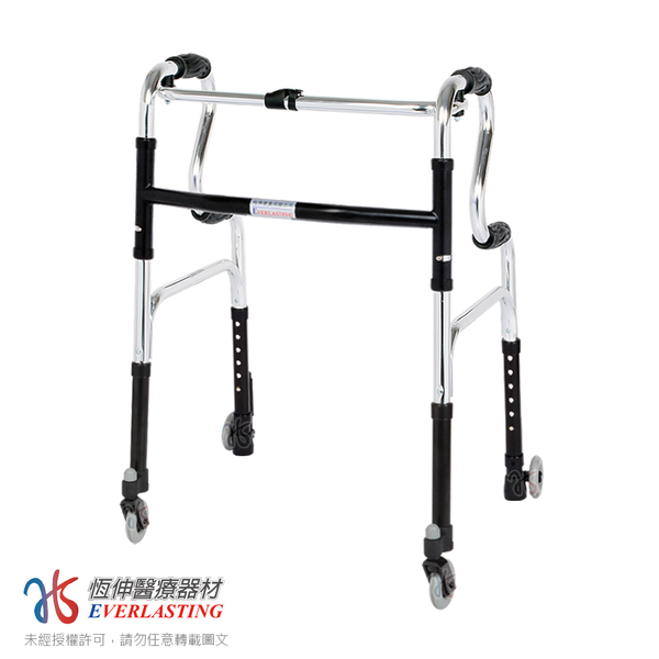 [宅配免運]恆伸醫療器材 ER-3133 R型助行器+3吋萬向輔助輪&帶輪輔助器(藍/黑任選)