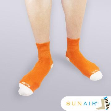 sunair 滅菌除臭襪子-自行車運動薄襪 短筒 (L25~29) (橙+白) /SA3105