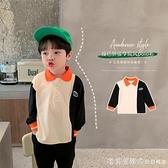 棉小班男童長袖t恤秋款兒童韓版時髦寶寶上衣撞色拼接小童polo衫 美眉新品