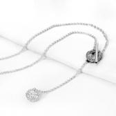 鑲鑽項鍊-精緻迷人生日母親節禮物女毛衣鍊2色73fv198【時尚巴黎】