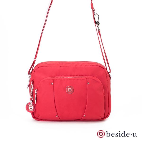 beside u BLL 防盜刷金屬裝飾旅行斜肩包側背包 – 紅色 原廠公司貨