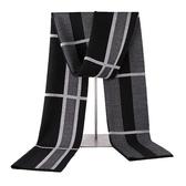 針織圍巾-百搭提花羊毛秋冬男披肩2色73wi57【時尚巴黎】
