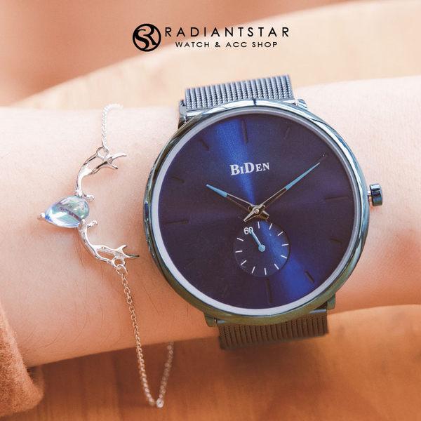 BIDEN十年一刻暗紋刻度單眼秒針金屬米蘭鍊帶手錶【WBI0124】璀璨之星☆
