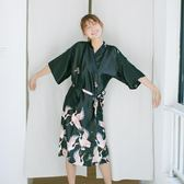 日式和服睡裙女 居家寬鬆仙鶴睡衣性感睡袍家居服可外穿大碼浴袍