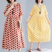 夏裝文藝復古波點印花棉麻連身裙胖mm寬鬆顯瘦休閒大擺中長裙 麗人印象 免運