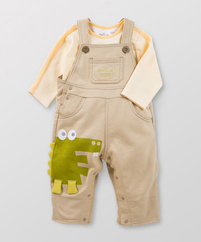 Hallmark Babies 男嬰兒秋冬純棉長袖上衣背帶褲寶寶連衣褲套裝 HD3-B01-04-BB-NI