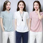 棉麻短袖T恤女裝襯衫夏季遮肚子胖MM大碼寬鬆上衣潮       伊芙莎