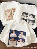 港風復古寬鬆白色短袖T恤夏季潮流原宿情侶半袖衣服艾美時尚衣櫥