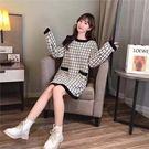 VK精品服飾 韓國小香風毛衣裙寬鬆慵懶針織長袖洋裝