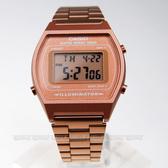 CASIO 復古風潮的方形經典電子錶 B640WC-5A 數位電子 中性錶 霧面不銹鋼 古銅金 B640WC-5ADF