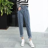 冬季新款復古韓國高腰顯瘦寬鬆BF毛邊牛仔褲時尚水洗綁帶哈倫褲女