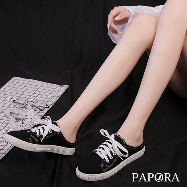 PAPORA學院風穆勒休閒布鞋拖鞋KQ1573黑/白/粉(偏小)