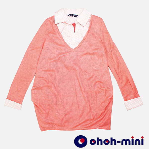 【ohoh-mini孕婦裝】點點撞色假二件長版孕哺上衣