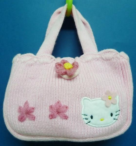 【震撼精品百貨】Hello Kitty 凱蒂貓~針織手提袋『粉小花』M