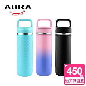 【AURA 艾樂】Always探索茶釀隨手瓶450ML(3色可選)藍色藍色