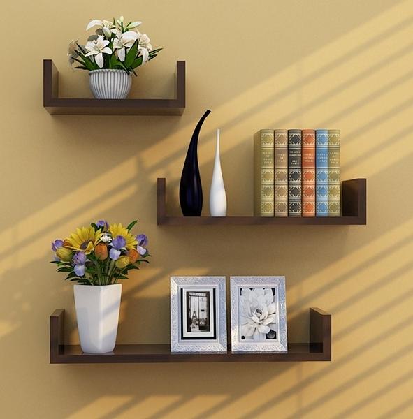 免打孔U型牆壁置物架壁掛裝飾隔板客廳背景懸掛式掛牆書架層板 快速出貨