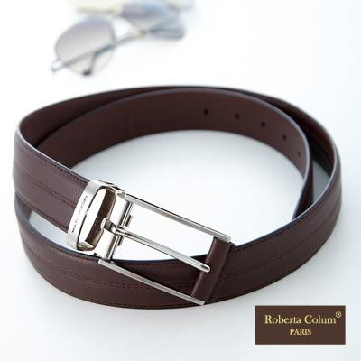 Roberta Colum - 帥氣紳士咖啡牛皮隱藏式暗袋皮帶