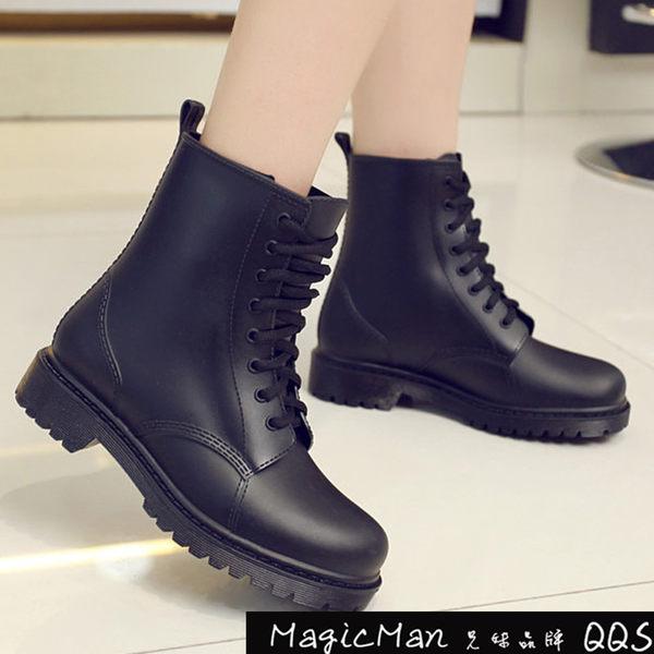【現貨】雨靴 時尚英倫系帶馬丁雨鞋 黑色/37(LES3949) ★Magic Man★ J