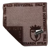 TRUSSARDI 立體獵狗徽章棉質方巾(咖啡)989045-307