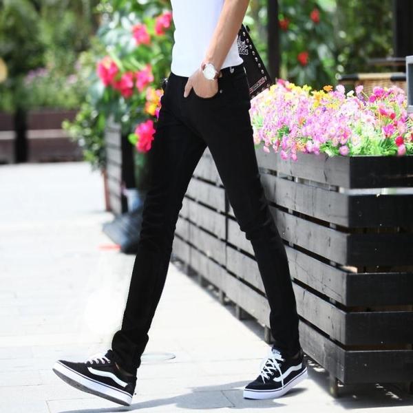 春夏季緊身彈力牛仔褲男士修身型青少年薄款韓版潮流男生小腳褲子「艾瑞斯居家生活」
