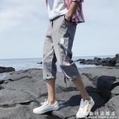 七分褲夏季7分褲休閒短褲男寬鬆馬褲五6分中褲子男韓版潮流修身薄 科炫數位