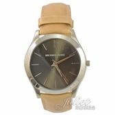 茱麗葉精品【專櫃款 全新現貨】MICHAEL KORS MK8619大框不鏽鋼皮革腕錶.卡其