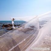 新娘頭紗婚紗韓式素紗頭飾超長拖尾10米裸紗108交換禮物